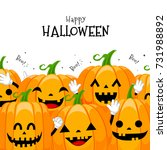 group of cute cartoon pumpkin... | Shutterstock .eps vector #731988892
