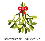 mistletoe with red bow ribbon... | Shutterstock .eps vector #731999125