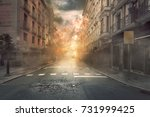 Small photo of View of destruction city with fires and explosion over dramatic sky background