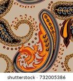 paisley vector seamless pattern.... | Shutterstock .eps vector #732005386