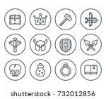 game line icons on white set 2  ... | Shutterstock .eps vector #732012856