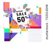 autumn sale memphis style web...   Shutterstock .eps vector #732013048