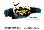 halloween party. vector... | Shutterstock .eps vector #732019012