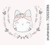 cute cate with flower | Shutterstock .eps vector #732023086