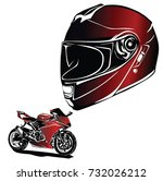 motorbike with helmet vector  | Shutterstock .eps vector #732026212
