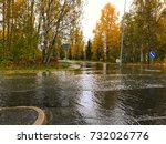 water flooding on the road.... | Shutterstock . vector #732026776