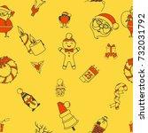 christmas seamless pattern... | Shutterstock .eps vector #732031792