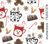 christmas pattern with...   Shutterstock .eps vector #732037378