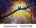 original oil painting lovers in ... | Shutterstock . vector #732051388