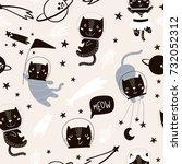 seamless childish pattern with... | Shutterstock .eps vector #732052312