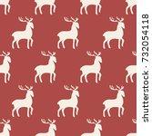 seamless pattern reindeer art... | Shutterstock .eps vector #732054118