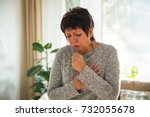 sick mature woman with sore... | Shutterstock . vector #732055678