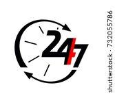24 7 vector icons. workhard  | Shutterstock .eps vector #732055786