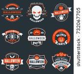 set of happy halloween badges... | Shutterstock .eps vector #732067705