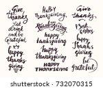happy thanksgiving hand drawn... | Shutterstock .eps vector #732070315