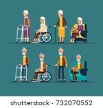 set of elderly persons.... | Shutterstock .eps vector #732070552