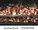 the process of drying apples in ... | Shutterstock . vector #732085996