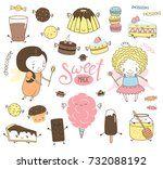 set of different hand drawn... | Shutterstock .eps vector #732088192