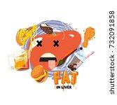 fat in liver concept   vector... | Shutterstock .eps vector #732091858