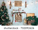 beautiful holiday decorated... | Shutterstock . vector #732092626