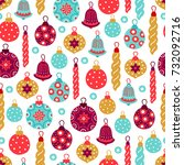 christmas seamless pattern with ... | Shutterstock .eps vector #732092716