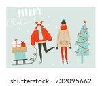 hand drawn vector abstract fun... | Shutterstock .eps vector #732095662