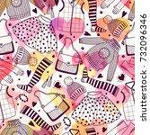 seamless pattern with women's...   Shutterstock .eps vector #732096346