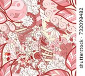 tracery seamless pattern.... | Shutterstock .eps vector #732098482