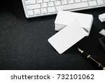 blank business card mockup on... | Shutterstock . vector #732101062