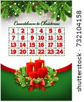 christmas advent calendar with... | Shutterstock .eps vector #732104158