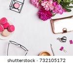 stylish feminine desktop with... | Shutterstock . vector #732105172