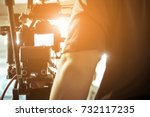 cameraman with his video camera ... | Shutterstock . vector #732117235