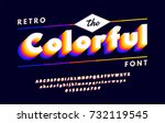 colorful retro alphabets 80's ... | Shutterstock .eps vector #732119545
