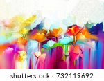 abstract colorful oil painting... | Shutterstock . vector #732119692