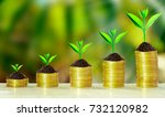 stack of coins with growth... | Shutterstock . vector #732120982