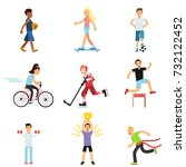 teen boys and girls engaging in ... | Shutterstock .eps vector #732122452