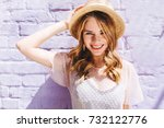 close up portrait of blissful... | Shutterstock . vector #732122776