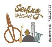 vector illustration of sewing... | Shutterstock .eps vector #732125728