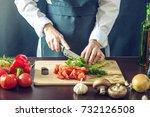 The Chef In Black Apron Cuts...