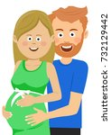happy husband touches the belly ... | Shutterstock .eps vector #732129442