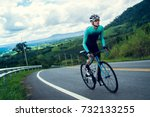 cyclists are cycling  climbing... | Shutterstock . vector #732133255