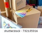 detail of color palette and... | Shutterstock . vector #732135316