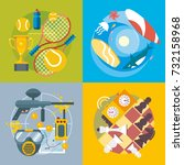 set of different fun  travel... | Shutterstock .eps vector #732158968
