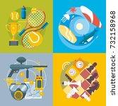 set of different fun  travel... | Shutterstock .eps vector #732158968