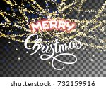 merry christmas falling shining ... | Shutterstock .eps vector #732159916