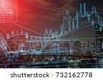stock exchange graph chart... | Shutterstock . vector #732162778