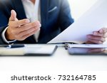 man signing a car insurance... | Shutterstock . vector #732164785