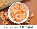 dry salted prawn in cup on... | Shutterstock . vector #732166762