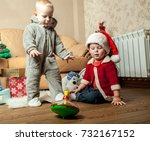 christmas for two kids | Shutterstock . vector #732167152