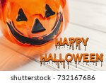 happy halloween text concept.... | Shutterstock . vector #732167686